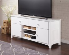 Nantucket 2 Drawer 60 inch Entertainment Console with Adjustable Shelves in White