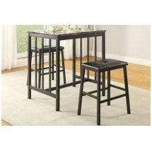 3-Piece Pack Counter Height Set, Faux Mable Top