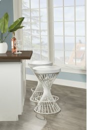Kanister Backless Bar Stool - White/matte White Metal