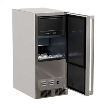 """Marvel 15"""" Outdoor Clear Ice Machine - Solid Stainless Steel Door, with Factory Installed Drain Pump - Right Hinge"""