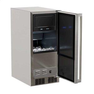 "MarvelMarvel 15"" Outdoor Clear Ice Machine - Solid Stainless Steel Door - Right Hinge"