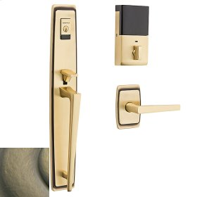 Satin Brass and Black Evolved Palm Springs Full Escutcheon Handleset