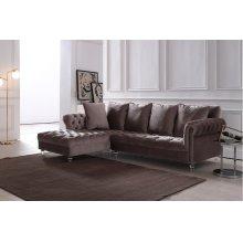 Divani Casa Temple Modern Light Grey Velvet Sectional Sofa