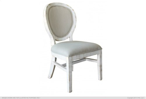 Chair w/ Fabric back & seat - White Finish
