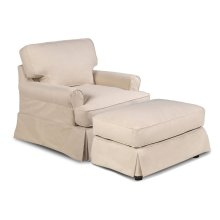 Sunset Trading Horizon Slipcovered T-Cushion Chair with Ottoman - Color: 391084