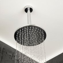 Wall-mount or ceiling-mount tilting round rain shower head, 95 rubber nozzles. Arm and flange sold separately.