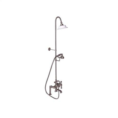 Tub Filler with Diverter Hand-Held Shower and Riser - Metal Lever 2 Handles - Brushed Nickel