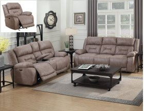 """Aria Pwr-Pwr Recliner Console Loveseat Desert Sand 77""""x43""""x43"""