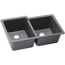 "Elkay Quartz Classic 33"" x 20-1/2"" x 9-1/2"", Offset Double Bowl Undermount Sink, Greystone"