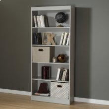 5-Shelf Bookcase - Soft Gray