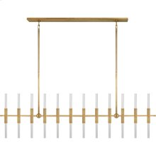 Visual Comfort S5140HAB-CA Ian K. Fowler Palomar 24 Light 60 inch Hand-Rubbed Antique Brass Transforming Linear Chandelier Ceiling Light, Large