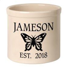 Personalized Butterfly 2 Gallon Stoneware Crock - Black Engraving / Bristol Crock
