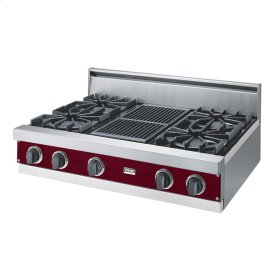 "Burgundy 36"" Open Burner Rangetop - VGRT (36"" wide, four burners 12"" wide char-grill)"