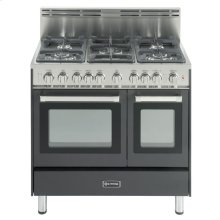 "Matte Black 36"" Gas Range with Double Oven"