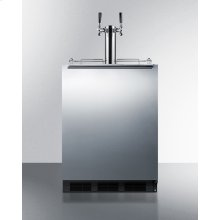 Built-in Undercounter ADA Height Commercially Listed Dual Tap Beer Dispenser With Stainless Steel Wrapped Door and Black Cabinet