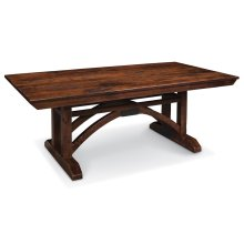"B&O Railroade Trestle Bridge Trestle Table, B&O Railroade Trestle Bridge Trestle Table, 42""x72"", 1-18"" Stationary Butterfly Leaf on Each End"