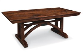 "B&O Railroade Trestle Bridge Trestle Table, B&O Railroade Trestle Bridge Trestle Table, 42""x80"", 1-18"" Stationary Butterfly Leaf on Each End"