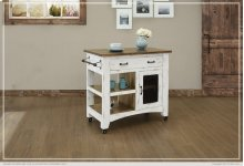 1 Drawer, 1 Mesh Door Kitchen Island - White finish