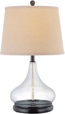 Table Lamp, D.BRZ/CLEAR Glass BODY/L.BEIGE, E27 Cfl 13w