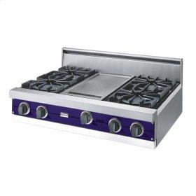"""Cobalt Blue 36"""" Open Burner Rangetop - VGRT (36"""" wide, four burners 12"""" wide griddle/simmer plate)"""