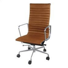 Langley PU High Back Office Chair, Vintage Tawny
