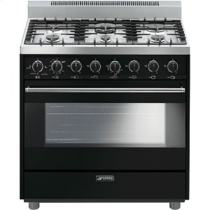 "SmegFree-Standing Gas Range, 36"", Black"