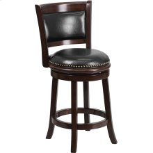 24'' High Cappuccino Wood Counter Height Stool with Panel Back and Black Leather Swivel Seat