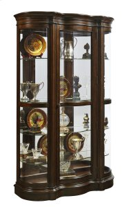 Shaped Bow Front 5 Shelf Curio Cabinet in Deep Brown Product Image