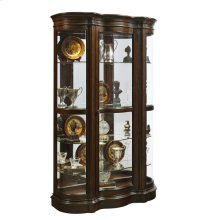 Shaped Bow Front 5 Shelf Curio Cabinet in Deep Brown