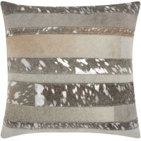 """Natural Leather Hide S1160 Silver Grey 20"""" X 20"""" Throw Pillow Product Image"""