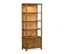 Narrow Light Brown Chestnut & Rattan Four-Tier étagère