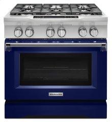 36'' 6-Burner Dual Fuel Freestanding Range, Commercial-Style - Cobalt Blue