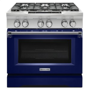 KitchenAid36'' 6-Burner Dual Fuel Freestanding Range, Commercial-Style - Cobalt Blue