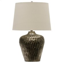 Nickel Antique  Transitional Embossed Metal Table Lamp  150W  3-Way  Hardback Shade 8 silver