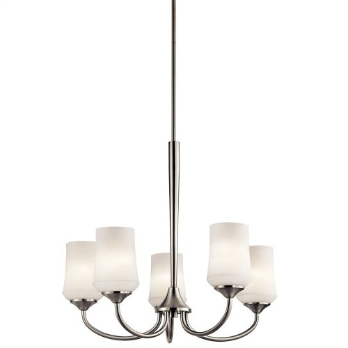 Aubrey 5 Light Chandelier with LED Bulbs Brushed Nickel