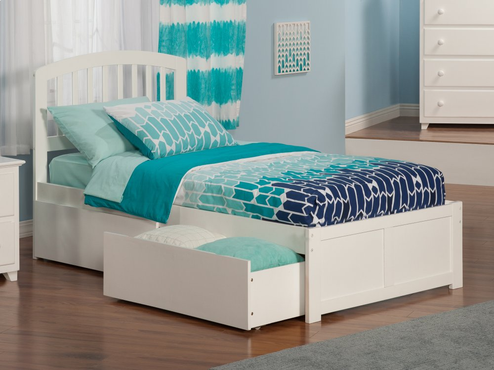 Richmond Twin XL Flat Panel Foot Board with 2 Urban Bed Drawers White