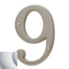 Satin Chrome House Number - 9