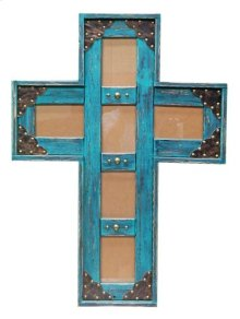 5x7 Turq. Cross Picture Frame
