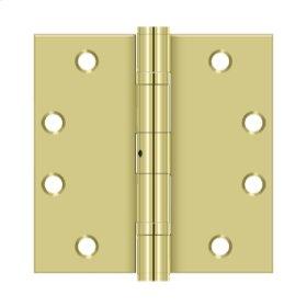 "4 1/2""x 4 1/2"" Square Hinge, HD, Ball Bearings - Polished Brass"