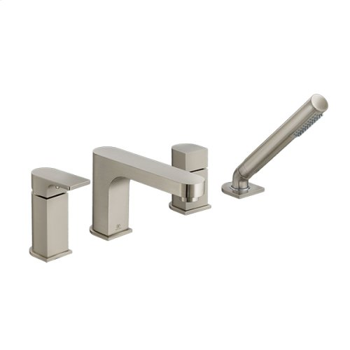 Equility Water Saving Deck Mount Bathtub Faucet with Hand Shower - Brushed Nickel