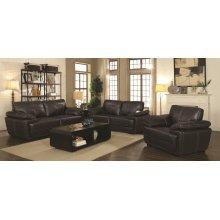 Zenon Brown Leather Three-piece Living Room Set