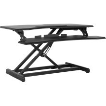 """HERCULES Series 32.6""""W Black Sit \/ Stand Height Adjustable Ergonomic Desk with Height Lock Feature"""