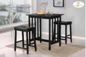3-Piece Pack Counter Height Set, Black Table : 32 x 24 x 34H Stool : 19 x 13 x 24H