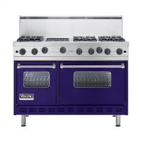 """Cobalt Blue 48"""" Open Burner Commercial Depth Range - VGRC (48"""" wide, six burners 12"""" wide char-grill)"""