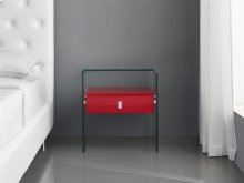 The Bari High Gloss Red Lacquer Nightstand / End Table