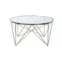 Coffee table 80x43 cm BOGOTA nickel with glass