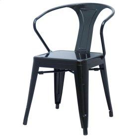 Metropolis Metal Arm Chair, Black