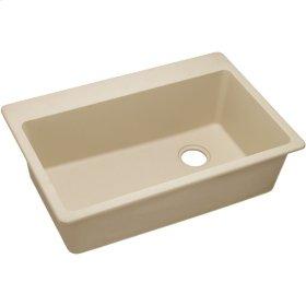 """Elkay Quartz Classic 33"""" x 22"""" x 9-1/2"""", Single Bowl Drop-in Sink, Sand"""