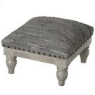Grey Leather Chindi Stool (Each One Will Vary) Product Image