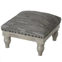 Grey Leather Chindi Stool (Each One Will Vary)